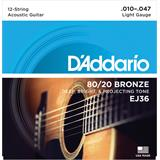 D'Addario EJ36 Bronze Acoustic Guitar 12-Strings Light 10-47