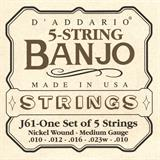 D'Addario J61 Nickel Medium 5-String Banjo 10-23