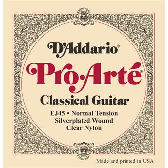 D'Addario EJ45 Normal Tension Pro Arte Classical Guitar Strings standaard nylon snarenset