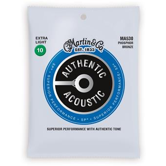Martin Strings MA530 Authentic Acoustic SP 92/8 Phosphor Bronze Extra Light 010 acoustic guitar string set