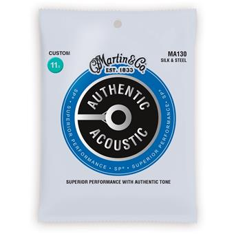 Martin Strings MA130 Authentic Acoustic SP Silk & Steel Custom 011 acoustic guitar string set