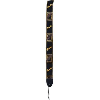 Fender Monogrammed Strap Black Yellow Brown gitaarband