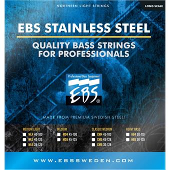 EBS SS HB4 Stainless Steel Heavy 4 Bass Strings 050 bass string set