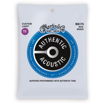 Martin Strings MA175 Authentic Acoustic SP 80/20 Bronze Custom Light 011 acoustic guitar string set