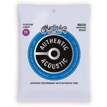 Martin Strings MA535 Authentic Acoustic SP 92/8 Phosphor Bronze Custom Light 011 acoustic guitar string set