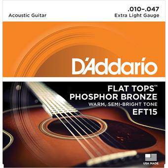 D'Addario EFT15 Flat Tops Extra Light 10-47 corde pour instrument traditionnel