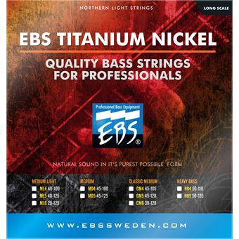 EBS TN CM4 Titanium Nickel Classic Medium 4 Bass Strings paquet cordes .045 guitare basse