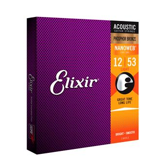 Elixir 16052 Phosphor Bronze Nanoweb Light 12-53 coated string set for acoustic guitar